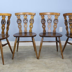 Set of Four Elm and Fruitwood Kitchen Chairs, Prince of Wales Feather Motif