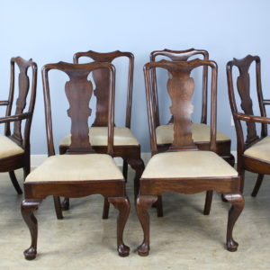 Set of Six George III Style Oak Dining Chairs