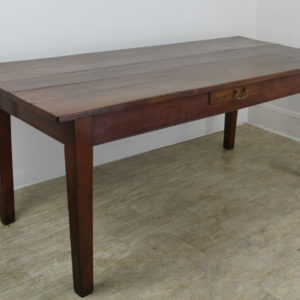 Antique French Cherry Farm Table, One Drawer
