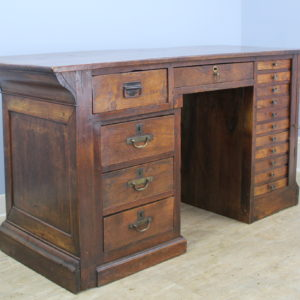 Antique French Counter Desk with Wellington-Style Cabinet