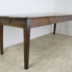 Long Antique Pine Farm Table, One Drawer