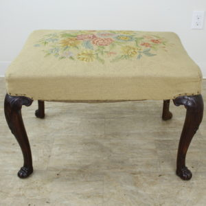 19th Century English Mahogany Needlepoint Stool with Claw Feet