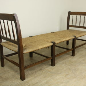 Antique French Walnut Daybed with Original Rush