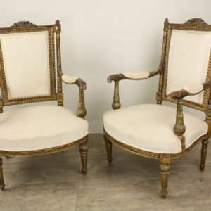Pair of Antique French Gold Gilt Upholstered Armchairs