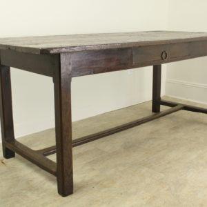 Rustic Chestnut Farm Table on a Stretcher Base
