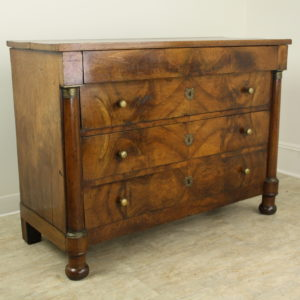 Antique French Empire Walnut Commode, Bronze Accents