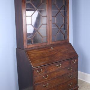 Gothic Mahogany Secretaire and Bookcase, Original Glass