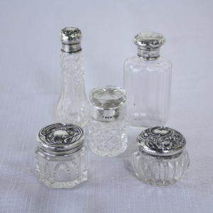 Five Small Antique English Hallmarked Silver Scent Bottles and Vanity Jars