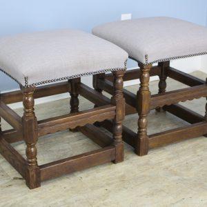 Pair of Oak Turned Leg Stools, Newly Upholstered