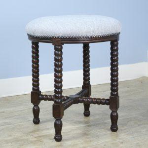 Antique Round Bobbin Legged Stool, Newly Upholstered