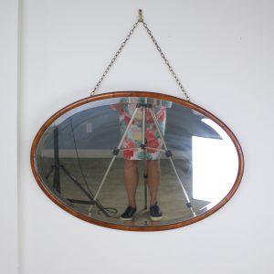 Edwardian Oval Mahogany Mirror