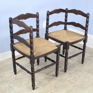 Pair of Antique French Oak Corner Chairs