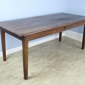 Antique French Chestnut Farm Table, One Drawer