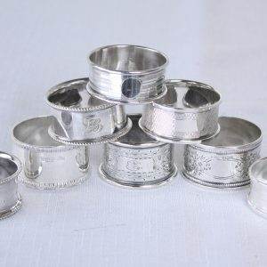 Collection of 8 Assorted English Hallmarked Napkin Rings