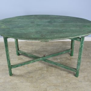 Antique French Green-Painted Oval Vendange Table