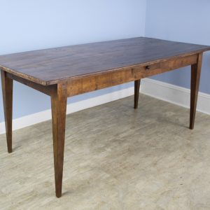 Antique Oak Farm Table with Decorative Edge and Single Drawer
