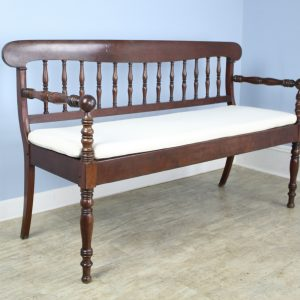 Antique French Country Mahogany Bench