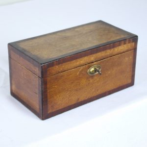 Georgian Oak and Mahogany Crossbanded Tea Caddy