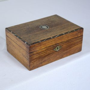 Antique Walnut Ladies' Sewing Box, Mother of Pearl Inlay