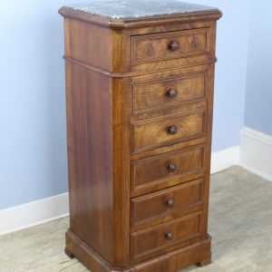 Antique Burr Walnut Nightstand with Gray Marble Top