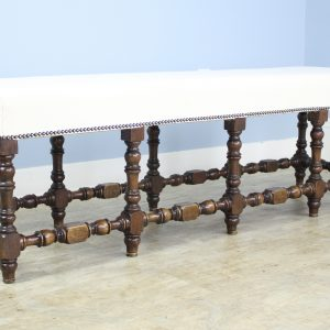 Long Antique Turned Leg Oak Bench
