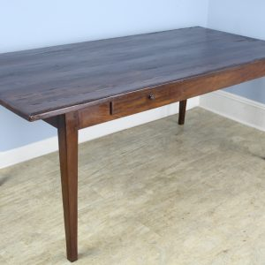 Antique Farm Table with Pine Top, Oak Base and Decorative Edge