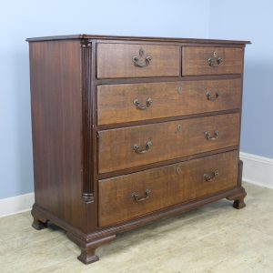 Quarter Column Oak Chest of Drawers with Original Handles