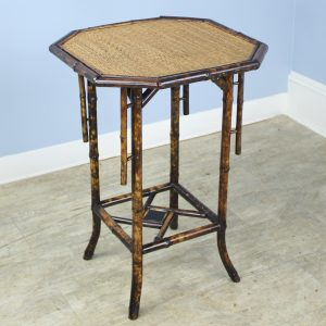 Antique Octagonal Bamboo Side Table with Side Detail