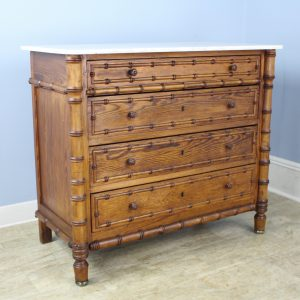 Antique Faux Bamboo Commode with Original White Marble Top