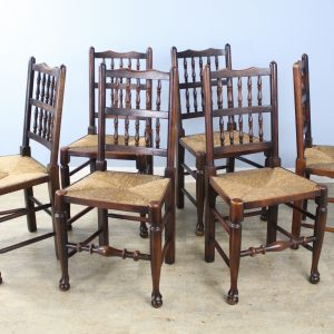 Set of 6 Antique Lancashire Spindleback Chairs