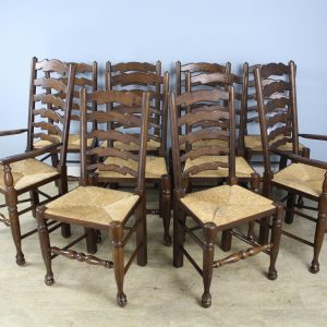 Set of 2 + 8 Late 19th C. Country Oak Ladderback Chairs