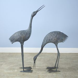 Pair of Mid-Century Bronze Storks with Verdigris Patina