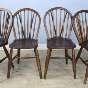 Set of Four 19th Century Elm Windsor Chairs