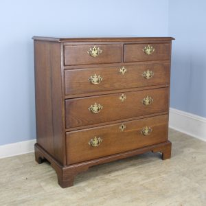 Period English Oak Chest of Drawers with Original Brasses