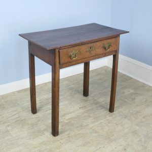 Early Country Oak Side Table with Original Hardware