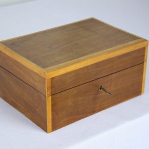 Antique Walnut Jewelry Box with Satinwood Crossbanding
