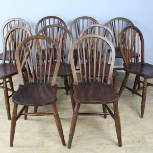 Set of Ten 19th Century Elm Windsor Chairs