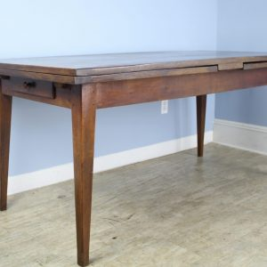 French Drawleaf Farm Table, Oak Top Chestnut Base