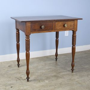 Antique Two Drawer Oak Side Table with Turned Legs