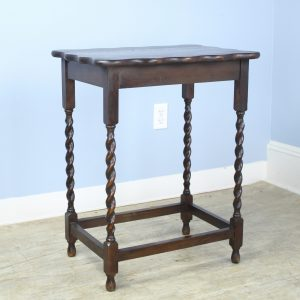 Antique English Oak Barley Twist Side Table