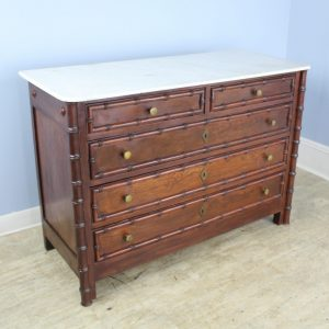 Large Antique Faux Bamboo Commode, White Marble Top
