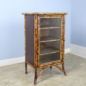 Small Glazed Bamboo Bookcase with Lacquered Top