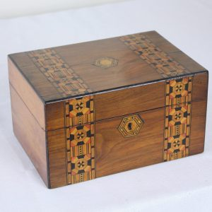 Antique Walnut Tumbridgeware Jewelry Box