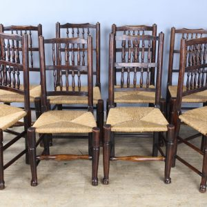 Collection of Eight Early 19th Century Ash and Elm Lancashire Spindleback Chairs