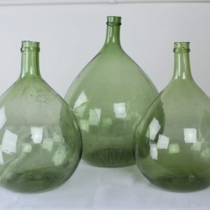 Collection of 3 Green Glass French Demijohn Bottles