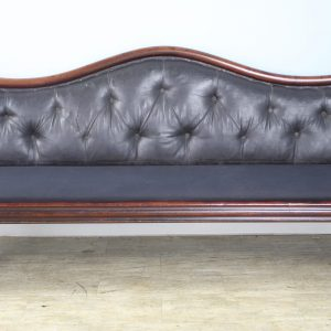 19th Century Mahogany Hall Seat with Original Buttoned Back