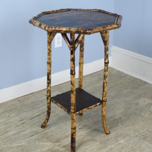 Antique Octagonal Bamboo Side Table with Lacquered Top