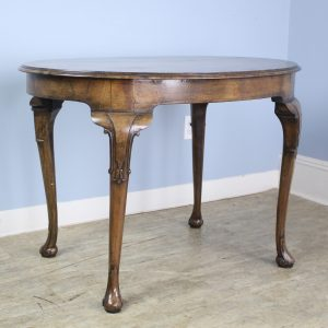 Antique Walnut Center Table, Carved Cabriole Legs