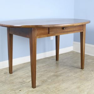 Antique French Fruitwood Oval Table, One Drawer