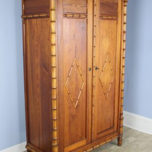 French Antique Faux Bamboo Food Cupboard or Small Armoire